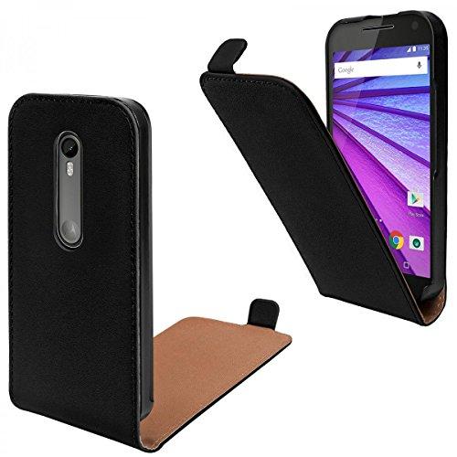 eFabrik Hülle für Motorola Moto G 3. Generation Tasche Handy Smartphone Schutz Flip Case Kunstleder, Schwarz