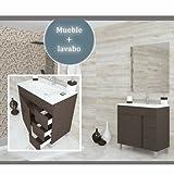 Baños Online Möbel Wengui 80cm, Wenge 1Tür 3Schubladen + Waschbecken