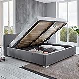 Bett mit Bettkasten Grau niedrigem Kopfteil Simple Polsterbett Lattenrost Stauraum Doppelbett (160 x 200 cm)