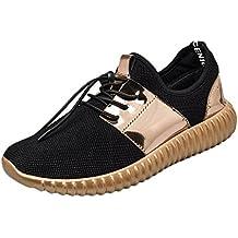 Zapatillas Deportivas de Mujer Negras YiYLunneo Costura De Moda Sneakers Malla De Charol Shoes Ocio Transpirable