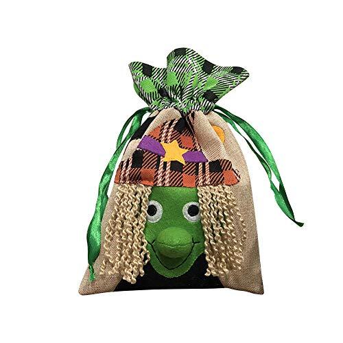 (DOXMAL Mode Halloween KüRbis Tasche Kinder Süßigkeiten Handtasche Eimer Kinder Halloween Tasche Mini Süßigkeiten Tote Kinder (witch))