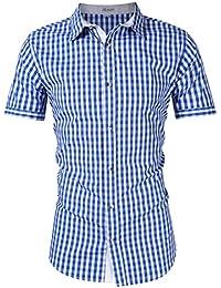 3f97ba5f8f3b4f KOJOOIN Trachtenhemd kariert Herren Hemd Freizeithemd Landhausstil  Langarmhemd Slim fit Hemd Bestickt Baumwolle - für Karneval