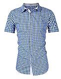 KoJooin Trachten Herren Hemd Trachtenhemd Langarmhemd Freizeithemd Baumwolle - für Oktoberfest, Business, Freizeit (L / 38, Blau1)