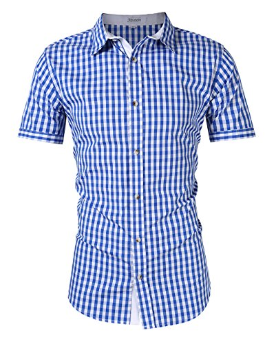 KOJOOIN Mens Shirt Checked Short Sleeve Slim Fit Shirt- 100% Cotton/World Cup/Oktoberfest/Plaid/Button Down/Casual Shirt