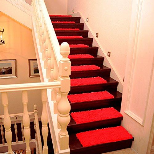 SESO UK- (1 Satz von 2) Chenille Dormitory Haupttreppe-Auflagen Großer Treppen-Teppich für Schritte Nicht Beleg-Kleber-Matte für Treppenlauf ( Farbe : Rot , größe : 26*75cm )