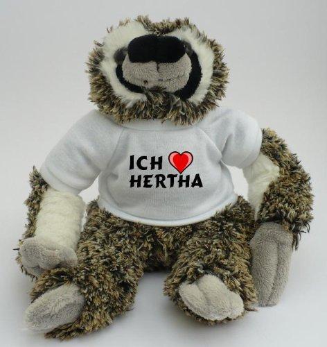 Plüsches Faultier mit T-shirt mit Aufschrift Ich liebe Hertha (Vorname/Zuname/Spitzname)