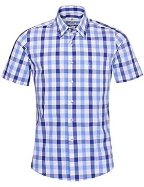 Almsach Kurzarm Trachtenhemd Martin Slim Fit mehrfarbig in Dunkelblau und Hellblau inklusive Volksfestfinder