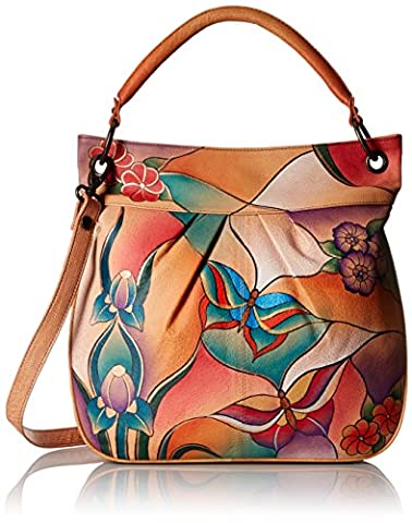Anuschka Handpainted Leather Large Convertible Tote, Butterfly Glass Painting, One Size