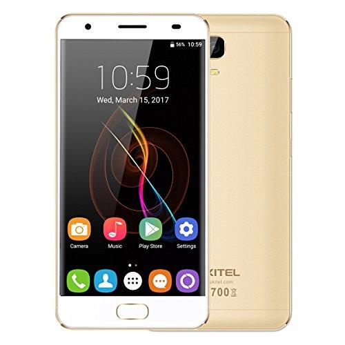 """OUKITEL K6000 Plus 4G Telephone Portable Débloqué 5.5"""" LTPS Écran Tactile Multitouche 5 Points 4Go RAM + 64Go ROM MT6750T Octa Core 1.5GHz Android 7.0 Caméra Arrière 16.0MP Empreinte Digitale Gestes Intelligentes Double SIM WIFI Bluetooth GPS HotKnot OTG - Or"""