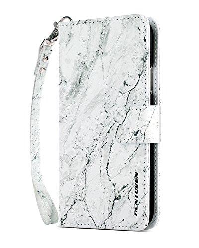 Cover iPhone X Custodia iPhone 10 Cover iPhone X edition Custodia Cellulare, iPhone case, BENTOBEN portafoglio cover sottile ultra portacarta vera pelle con magnetico chiuso per iPhone X, viola/nero K037-Marmo di colore solido