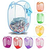 Ketsaal Foldable Net/Mesh Laundy Basket, Storage Bag for Clothes, Toys. with Easy to Carry Handle. for Home, Office, Hostel, Dorms. (Color May Vary)