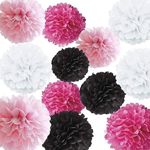 E Fuchsia Rosa Weiß Schwarz Seidenpapier Pom Poms Blumenkugeln Für Pink Sweet 16 Geburtstag Quinceanera 15 Geburtstag Party Supplies Bachelorette Dekorationen Brautdusche ()