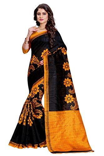 Sugathari Sarees Women\'s Black and Yellow Mysore Bhagalpuri Art Silk Saree (Bhagalpuri Sarees 50 Black Yellow)