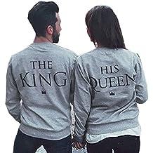 Teamyy Sudadera para Pareja Amante King and Queen El Rey y La Reina Camiseta Top