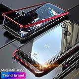 Eastcoo Compatible with Xiaomi Mi Mix 3 Hülle, Xiaomi Mix3 Black Cover Starke magnetische Adsorptionstechnologie Gehäuse aus Metall mit transparentem gehärtetem Glas (Mi Mix 3, Red)