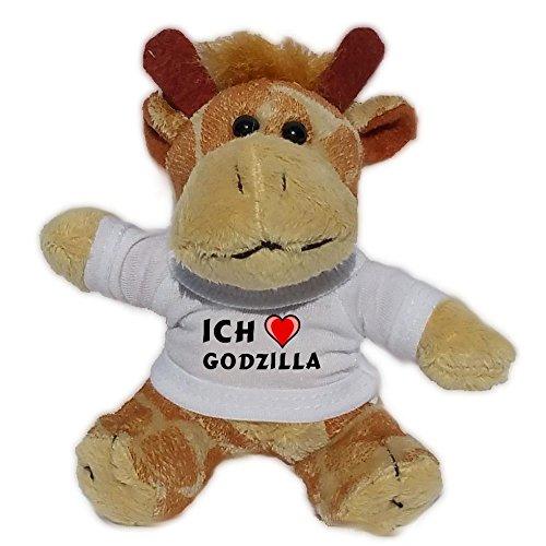 Plüsch Giraffe Schlüsselhalter mit T-shirt mit Aufschrift Ich liebe Godzilla (Vorname/Zuname/Spitzname)