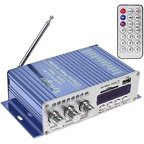 WINGONEER 12V Hi-Fi Stereo amplificador de audio digital de DVD USB SD FM estéreo audio MP3 de radio del coche del altavoz de Bluetooth Amplificador HiFi Mini 2 Canal Digital Display Power Player para iPod / coche / del barco / de la