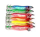 HENGJIA 9g/9.5cm 2.0# Plastic Squid Jigs Colorful Luminous Sinking Lure 10pcs/2bags (Random Color)
