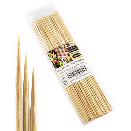 (HEYNNA ® Premium 200er Pack Schaschlikspieße Holz 30cm / Ø3mm Grillspieße - Holzspieße aus Bambus für das Grillen und Kochen - Nach LFGB Norm geprüft - 200 Stück)