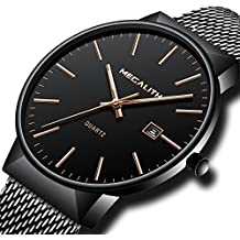 88d24da271abc Montre Homme Acier Inoxydable Montre Bracelet à Quartz Analogique Etanche  Luxe Mode Date Calendrier Design Simple