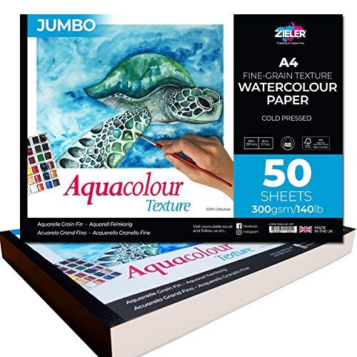 Zieler Jumbo-Aquarellpapier, fein genarbt, strukturiert, von Zieler. A4 quer, 50 Blatt, 300 g/m² Ideal zum Einweichen und Maskieren. Hergestellt in Großbritannien, FSC-Mix und säurefrei