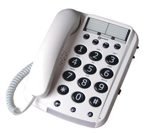 Geemarc DAL10_WH_F Großtastentelefon schnurgebunden mit 3 Direktwahltasten, Deutsche Version