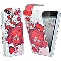 24/7 Kaufhaus - Rot Herz blumen design Elegantes Leder Etui / Pouch / Tasche für Apple iphone 5, 5g