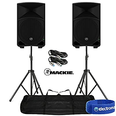 "2x Mackie Thump12 12"" Active Powered Loud Bass Speakers DJ System Stands Cables"