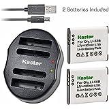 Kastar Battery (X2) & Dual USB Charger For Olympus LI-50B