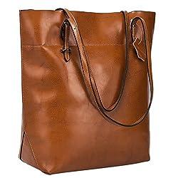 S-ZONE Damen Echtleder Tasche Handtasche Henkeltasche