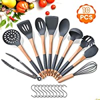 Godmorn Kitchen Utensil Sets with Hooks, 10 Pcs Silicone Cooking Utensils Sets, Heat-resistant & Nonstick Spatula Turner Cooking Tools - Silicone & Premium Wooden Handle, Non-slip, BPA-free, Grey
