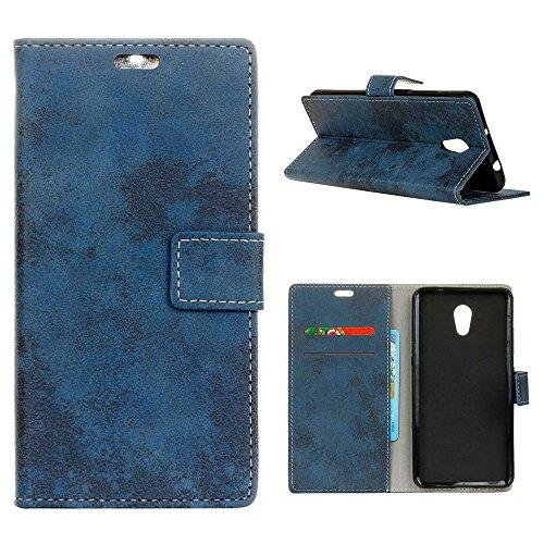 """MOONCASE Caso Meizu Pro 6 Plus, [Retro Book Style] Slot para cartão embutido Flip capa de couro Durável à prova de choque de proteção de silicone para Meizu Pro 6 Plus 5.7 """"Azul"""