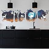 LianLe 55 * 180cm Im Mondlicht Hirsch in Wald Wandtattoo Wandaufkleber Wandsticker Abnehmbar für Kinderzimmer Wohnzimmer Schlafzimmer Dekoration (Im Mondlicht Hirsch in Wald)