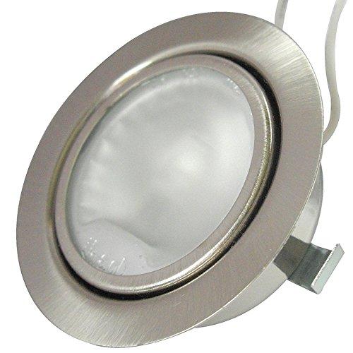 g4 halogen 20w Möbeleinbaustrahler 12Volt inklusive 20W Halogen Leuchtmittel, Kabel und AMP Stecker - Farbe: Edelstahl gebürstet - Dimmbar