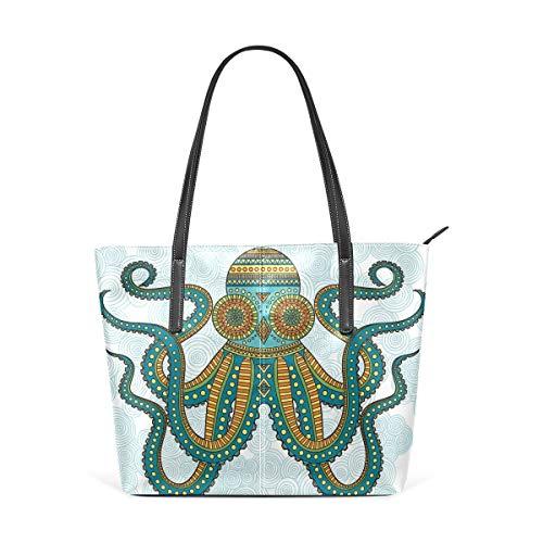XGBags Custom Frauen Umhängetaschen Green Hipster Octopus kraken PU Leather Shoulder Tote Bag Purse for Women Girls (Spade Kate Hipster)
