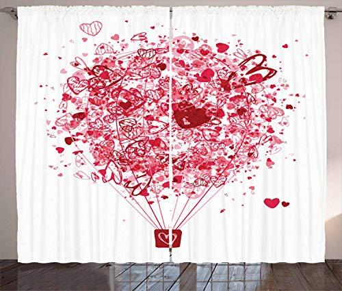 FAFANIQ Love Curtains, Love is in The Air Valentines Day Celebration Themed Heart Filled Air Balloon, Living Room Bedroom Window...