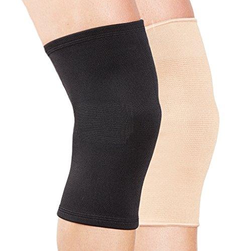 Genouillère de contention Actesso (L, Beige)- Compression élastique pour soulager la douleur de genou traumatisme, entorse du ligamentaire ou blessure sport