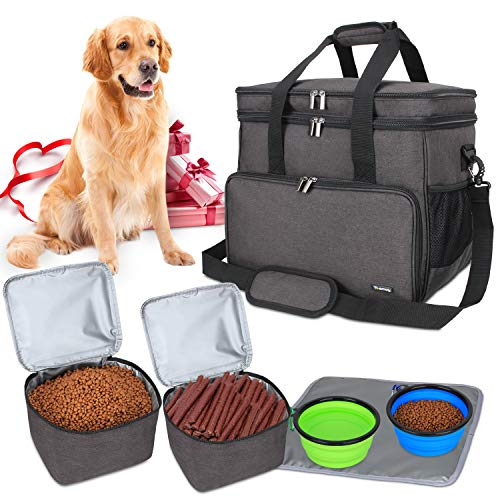 Teamoy Borsa da Viaggio per Dog Gear, Borsa da Viaggio per Cani con 2 Ciotole Pieghevoli in Silicone, 2 contenitori per Alimenti, 1 Tappetino per Le Ciotole (Grande, Nero)