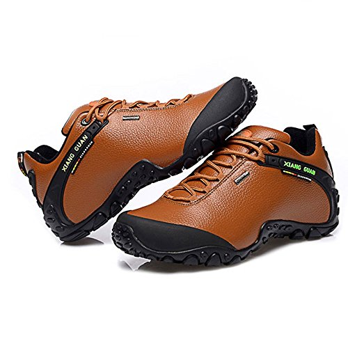 Xiang Guan Damen Low-top Lace-up Leder Wasserdicht Outdoorschuhe Sport Camping Wandern Walking Trekking Schuhe Braun
