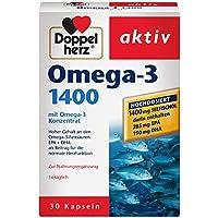 Doppelherz Omega-3 1400 mg – Nahrungsergänzungsmittel mit hochdosiertem Omega-3-Konzentrat plus Vitamin E – Hoher Gehalt an Omega-3-Fettsäuren – 1 x 30 Kapseln