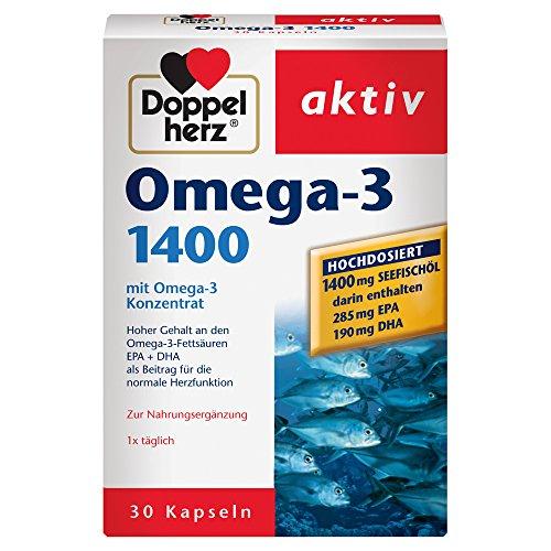 Doppelherz Omega-3 1400 mg - Nahrungsergänzungsmittel mit hochdosiertem Omega-3-Konzentrat plus Vitamin E - Hoher Gehalt an Omega-3-Fettsäuren - 1 x 30 Kapseln