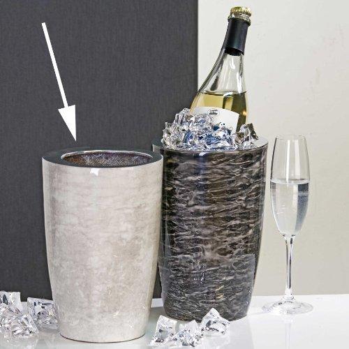 Design-Vase/Sektkühler Silent aus Aluminium · weiß in Marmor-Optik Höhe 24 cm innen-Ø 12 cm außen-Ø 16 cm
