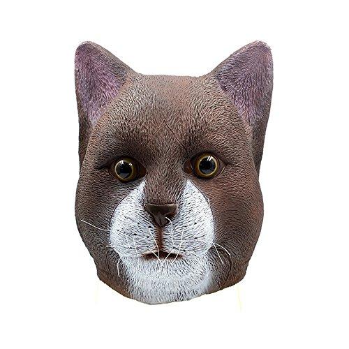 A_Feel Halloween Latex Katze Kopf Maske Kopfbedeckung Maske -