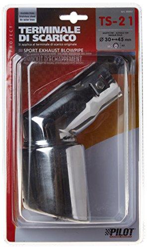 Akhan ER60002 - Termina di scarico per auto, in acciaio INOX, da avvitare, tubo di collegamento da D=30-45mm, 170mm di lunghezza, 90mm di larghezza, 130mm di altezza