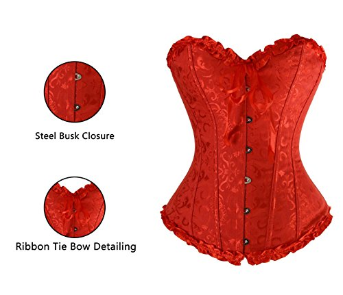 Charmian Women's Burlesque Sweetheart Satin Laces Boned Overbust Corset Bustier Rosso