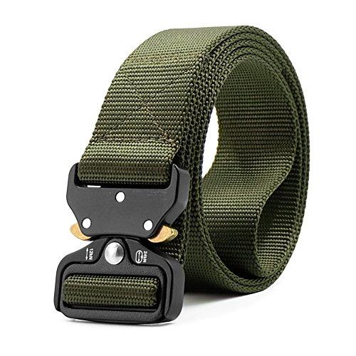 HOTSO Nylon Cinturón Táctico, Pretina Militar al Aire Libre 130cm Longitud Lona Transpirable Ceñidor para Hombre y Mujer Cintura con Hebillas de Metal (Verde Militar)