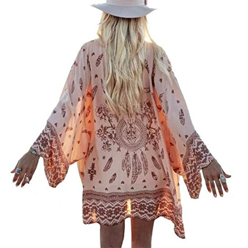 bluse damen Kolylong Frauen Boho Printed Bluse Chiffon Kimono Cardigan Tops (M, a) (Side Zip Shorts)