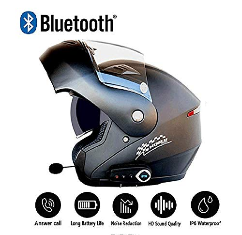 Evin Casco Moto Moto Integrale con Auricolare Bluetooth - Casco Moto omologato DOT modulare Doppio Parasole da Uomo/Donna (Nero/Bianco) con Cuffie,Black,XL
