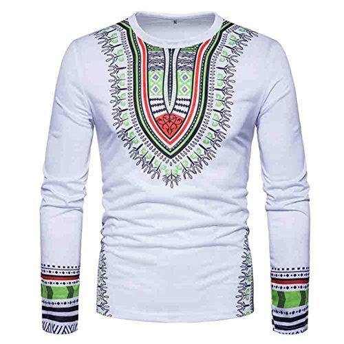 Herren Stilvolle-print T-shirt (LHWY Shirt Herren, Männer Sweatshirt Tops Casual African Print O Hals Pullover Langärmelige T-Shirt Top Bluse Vintage Trendige Herrenbekleidung Winter Schwarz Weiß (M, Weiß))