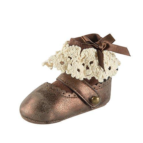 ESTAMICO Baby Mädchen weiches Leder Mary Jane Prewalker Schuhe und Socken Braun 12-15 Monate -